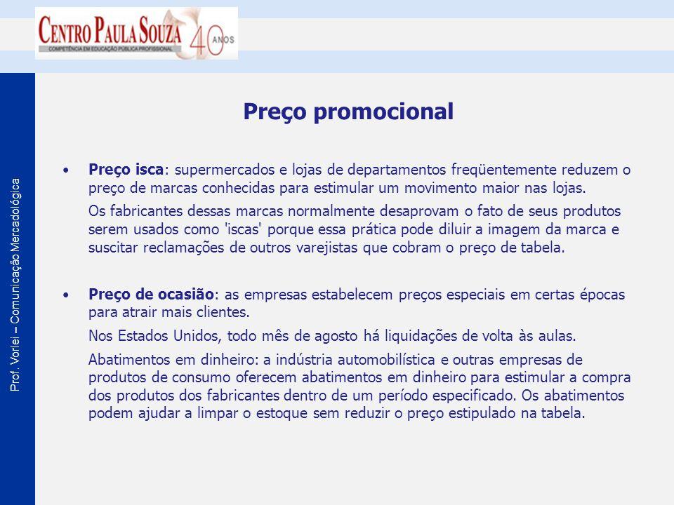 Prof. Vorlei – Comunicação Mercadológica Preço promocional Preço isca: supermercados e lojas de departamentos freqüentemente reduzem o preço de marcas