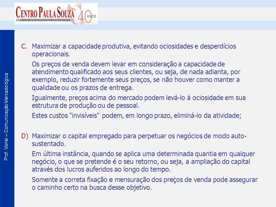Prof. Vorlei – Comunicação Mercadológica C.Maximizar a capacidade produtiva, evitando ociosidades e desperdícios operacionais. Os preços de venda deve