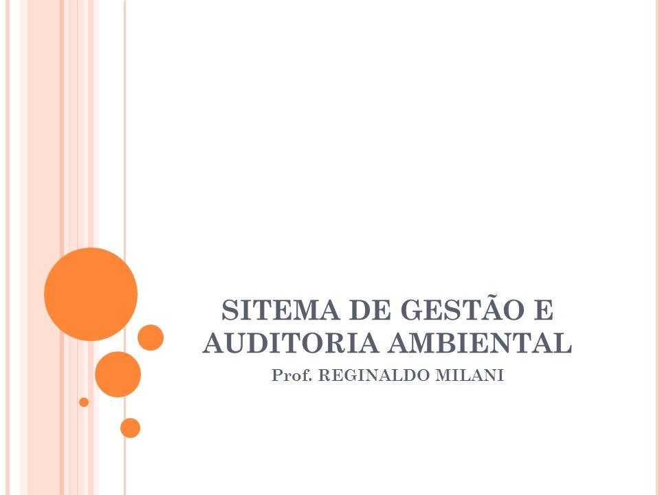 SITEMA DE GESTÃO E AUDITORIA AMBIENTAL Prof. REGINALDO MILANI