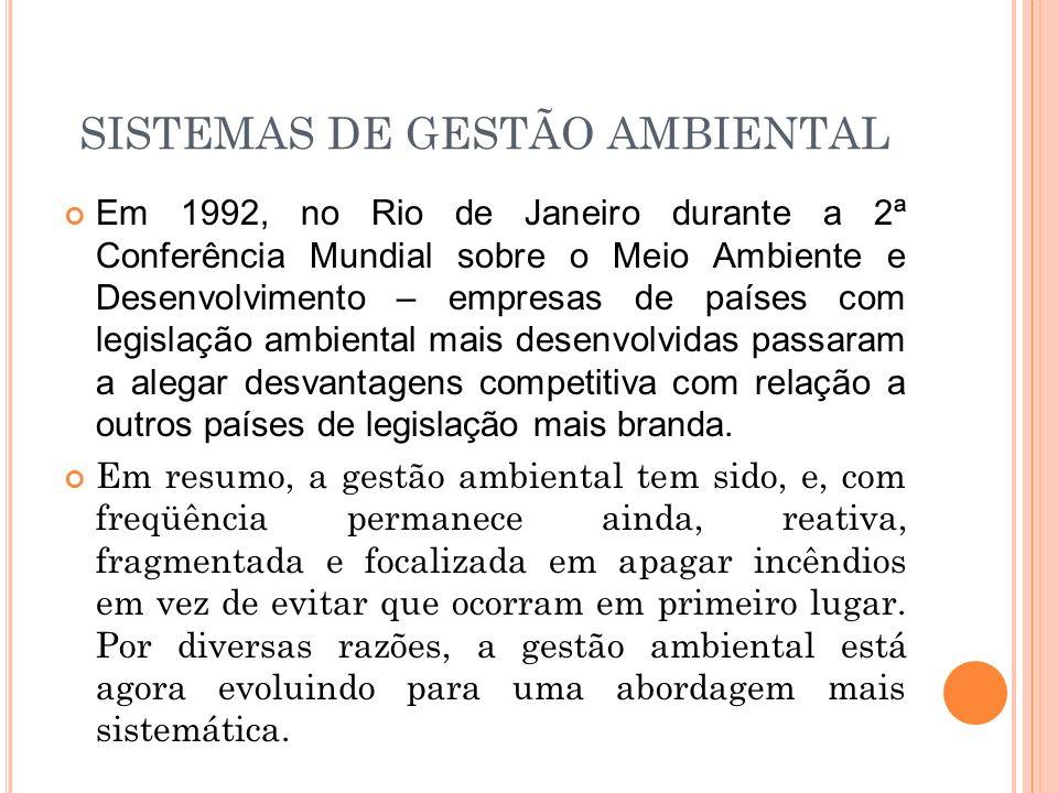SISTEMAS DE GESTÃO AMBIENTAL Em 1992, no Rio de Janeiro durante a 2ª Conferência Mundial sobre o Meio Ambiente e Desenvolvimento – empresas de países