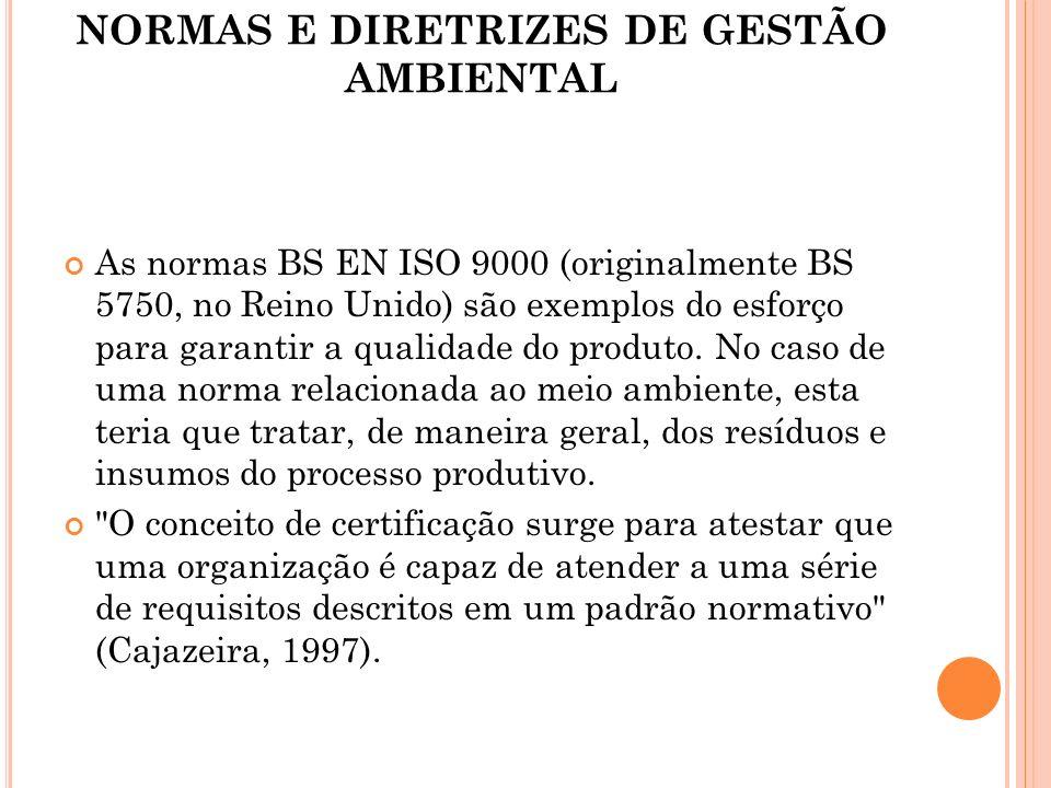 NORMAS E DIRETRIZES DE GESTÃO AMBIENTAL As normas BS EN ISO 9000 (originalmente BS 5750, no Reino Unido) são exemplos do esforço para garantir a quali