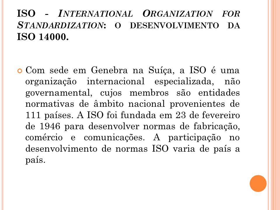 ISO - I NTERNATIONAL O RGANIZATION FOR S TANDARDIZATION : O DESENVOLVIMENTO DA ISO 14000. Com sede em Genebra na Suíça, a ISO é uma organização intern