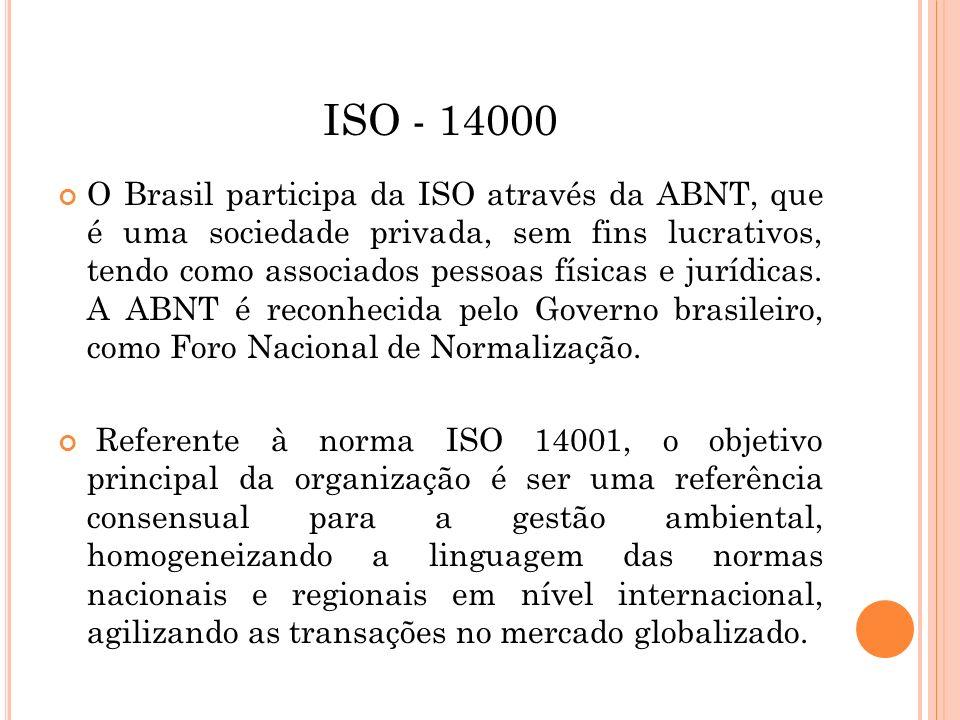ISO - 14000 O Brasil participa da ISO através da ABNT, que é uma sociedade privada, sem fins lucrativos, tendo como associados pessoas físicas e juríd