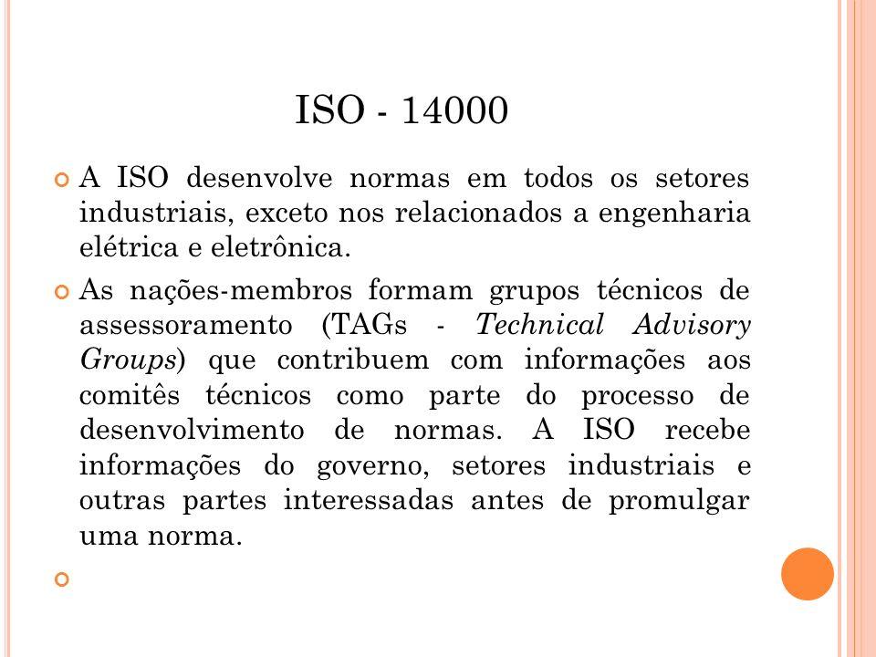 ISO - 14000 A ISO desenvolve normas em todos os setores industriais, exceto nos relacionados a engenharia elétrica e eletrônica. As nações-membros for
