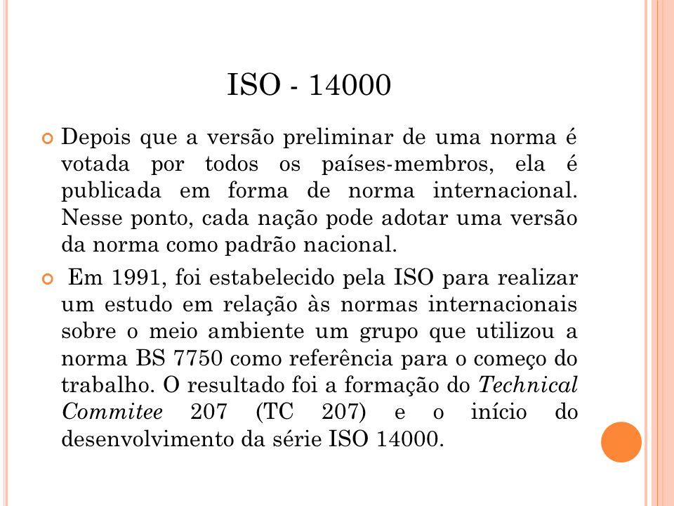 ISO - 14000 Depois que a versão preliminar de uma norma é votada por todos os países-membros, ela é publicada em forma de norma internacional. Nesse p