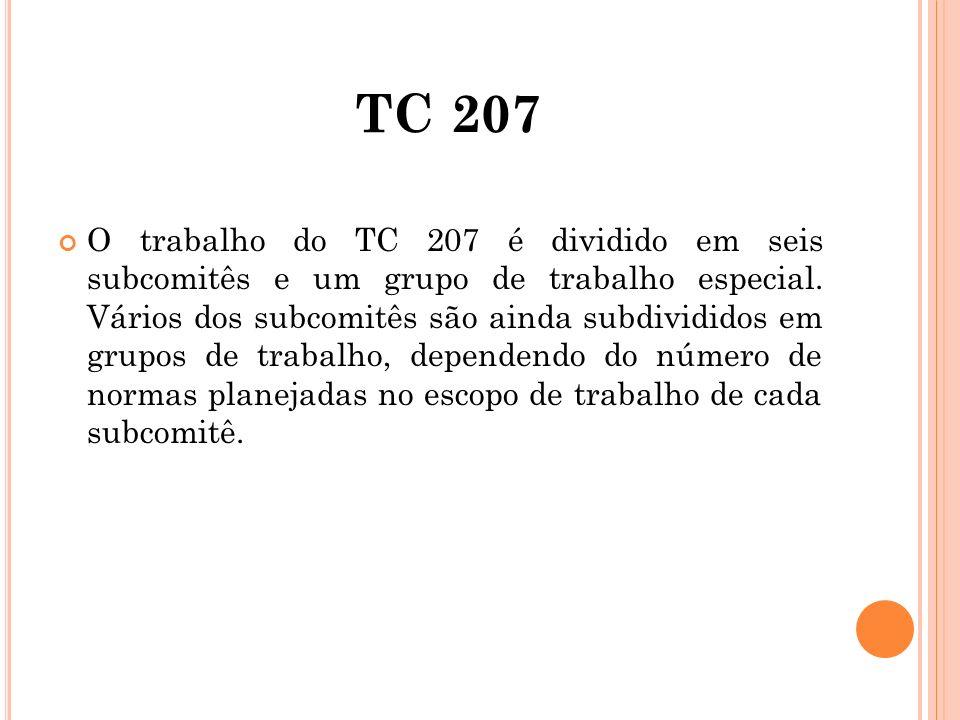 TC 207 O trabalho do TC 207 é dividido em seis subcomitês e um grupo de trabalho especial. Vários dos subcomitês são ainda subdivididos em grupos de t