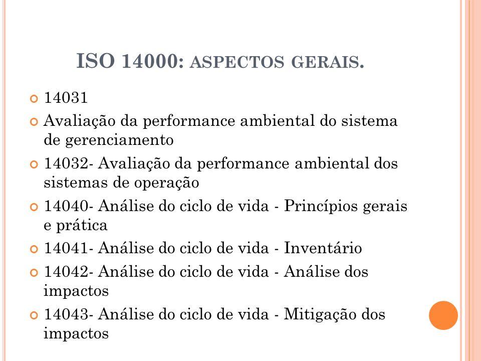 ISO 14000: ASPECTOS GERAIS. 14031 Avaliação da performance ambiental do sistema de gerenciamento 14032- Avaliação da performance ambiental dos sistema