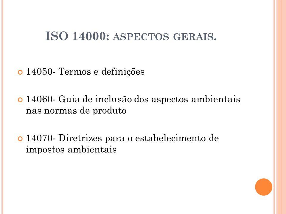 ISO 14000: ASPECTOS GERAIS. 14050- Termos e definições 14060- Guia de inclusão dos aspectos ambientais nas normas de produto 14070- Diretrizes para o