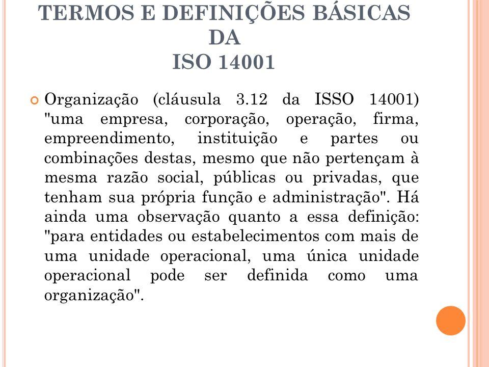 TERMOS E DEFINIÇÕES BÁSICAS DA ISO 14001 Organização (cláusula 3.12 da ISSO 14001)