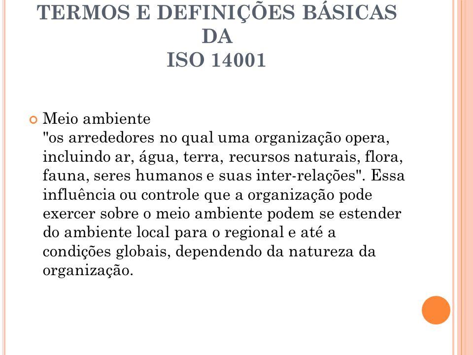 TERMOS E DEFINIÇÕES BÁSICAS DA ISO 14001 Meio ambiente