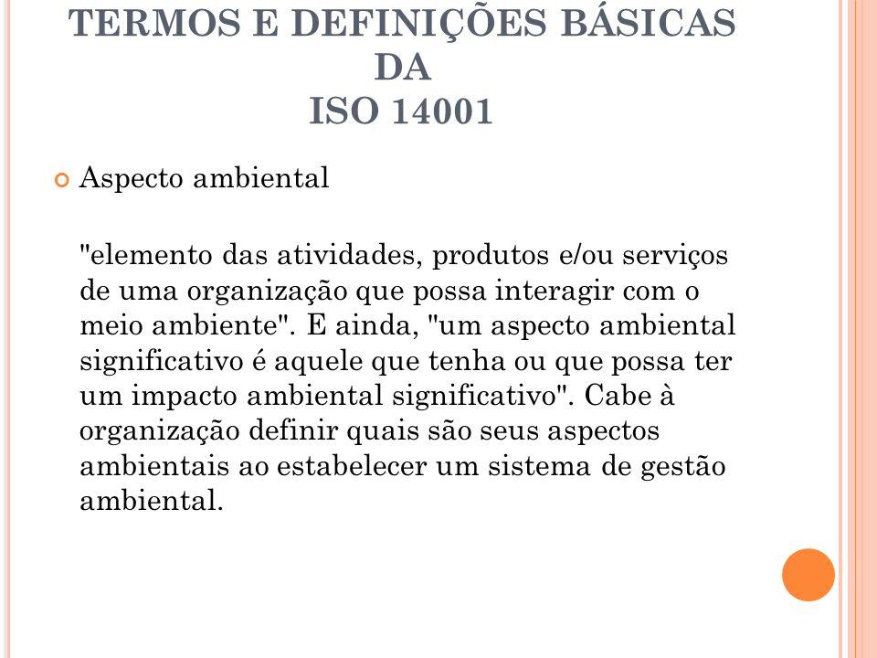 TERMOS E DEFINIÇÕES BÁSICAS DA ISO 14001 Impacto ambiental qualquer mudança no ambiente seja adversa ou benéfica, resultante total ou parcialmente das atividades, produtos e/ou serviços de uma organização .