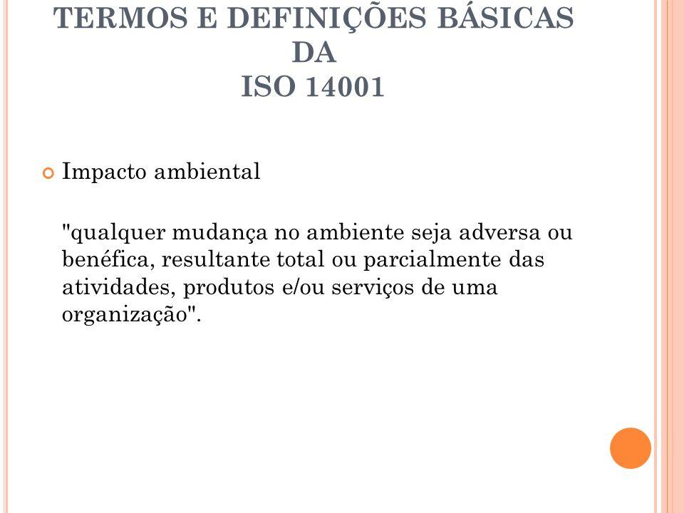 TERMOS E DEFINIÇÕES BÁSICAS DA ISO 14001 Impacto ambiental