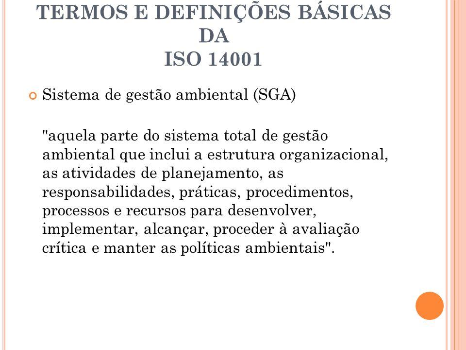 TERMOS E DEFINIÇÕES BÁSICAS DA ISO 14001 Auditoria do sistema de gestão ambiental processo de verificação sistemático e documentado para obter e avaliar objetivamente evidências para determinar se o SGA de uma organização está em conformidade com os critérios de auditoria de sistemas de gestão ambiental que são estabelecidos pela própria organização.
