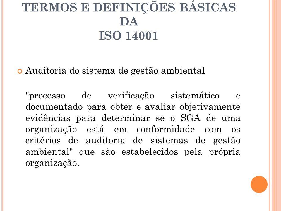 TERMOS E DEFINIÇÕES BÁSICAS DA ISO 14001 Auditoria do sistema de gestão ambiental