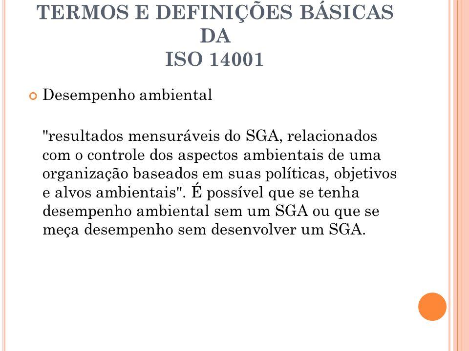 TERMOS E DEFINIÇÕES BÁSICAS DA ISO 14001 Desempenho ambiental