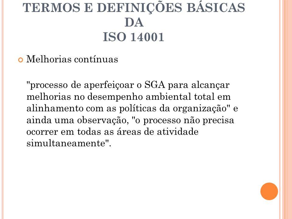 TERMOS E DEFINIÇÕES BÁSICAS DA ISO 14001 Melhorias contínuas