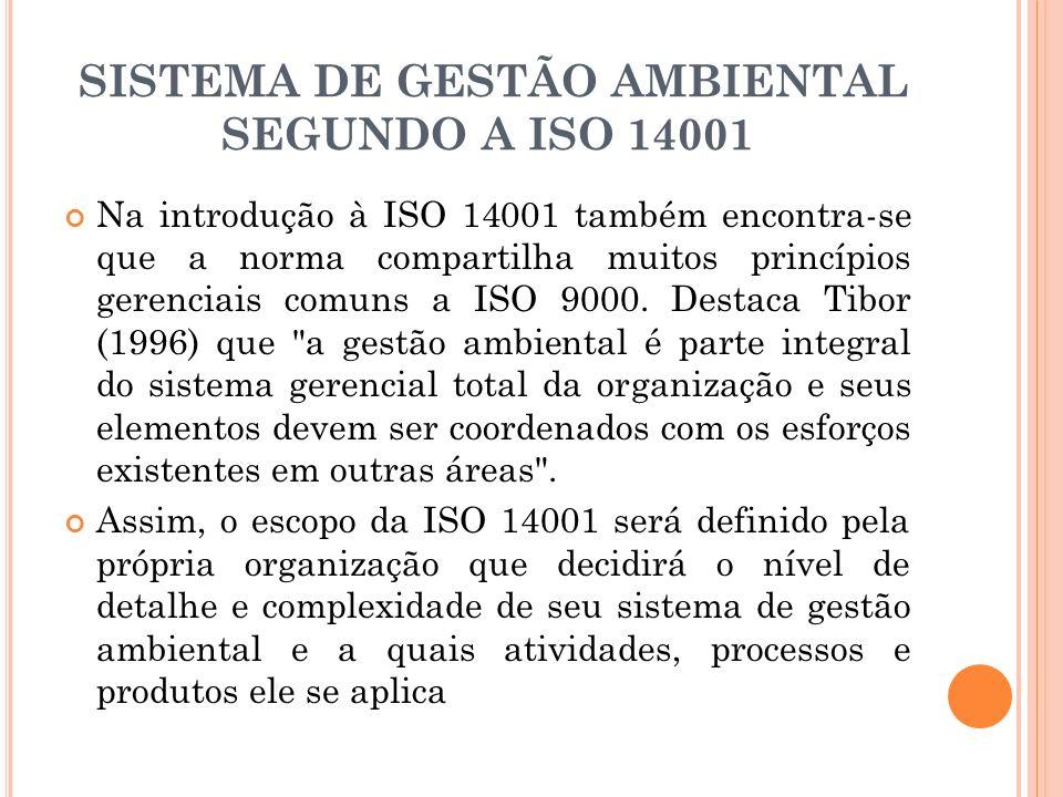 SISTEMA DE GESTÃO AMBIENTAL SEGUNDO A ISO 14001 Na introdução à ISO 14001 também encontra-se que a norma compartilha muitos princípios gerenciais comu
