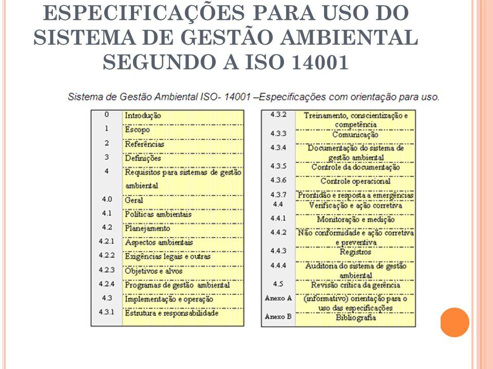 ESPECIFICAÇÕES PARA USO DO SISTEMA DE GESTÃO AMBIENTAL SEGUNDO A ISO 14001