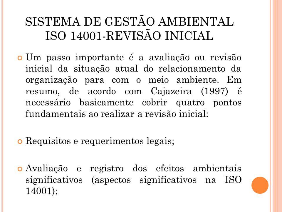 SISTEMA DE GESTÃO AMBIENTAL ISO 14001-REVISÃO INICIAL Exame das práticas e procedimentos do sistema de gerenciamento ambiental já existente; Após o comprometimento com as questões ambientais e a avaliação inicial, começa-se a implantar os outros requisitos especificados pela norma.
