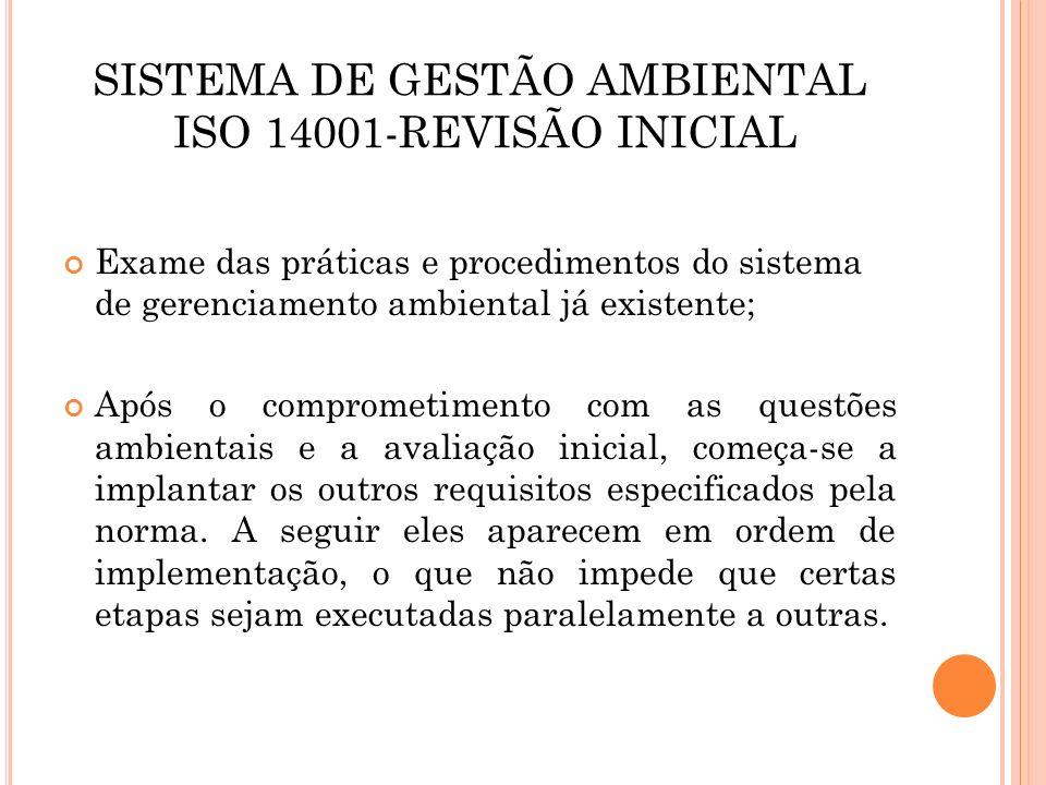 SISTEMA DE GESTÃO AMBIENTAL ISO 14001-REVISÃO INICIAL Exame das práticas e procedimentos do sistema de gerenciamento ambiental já existente; Após o co
