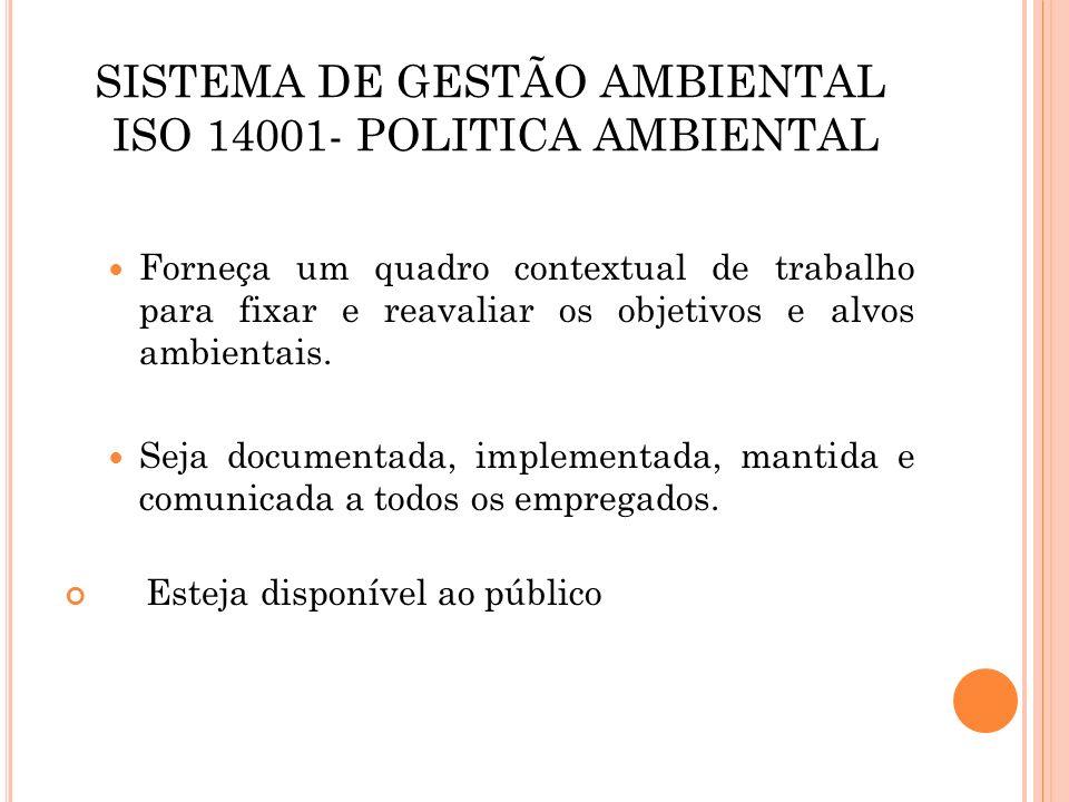 SISTEMA DE GESTÃO AMBIENTAL ISO 14001- POLITICA AMBIENTAL Forneça um quadro contextual de trabalho para fixar e reavaliar os objetivos e alvos ambient