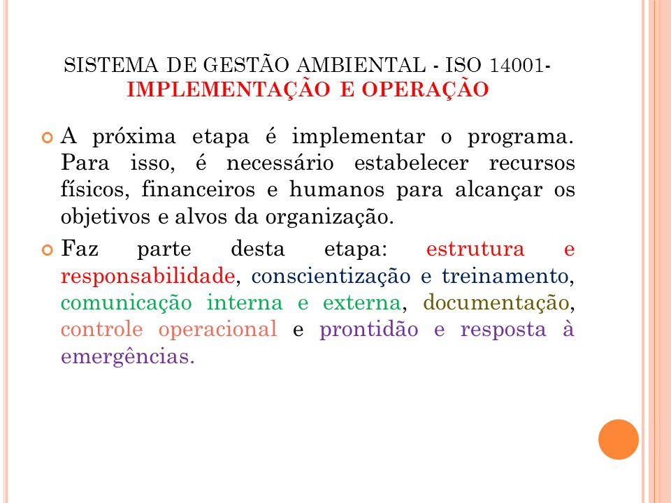 SISTEMA DE GESTÃO AMBIENTAL - ISO 14001- IMPLEMENTAÇÃO E OPERAÇÃO Estrutura e responsabilidade A ISO 14001 exige que a organização: Defina, documente e comunique claramente os papéis, as responsabilidades e as autoridades a implementarem o SGA.