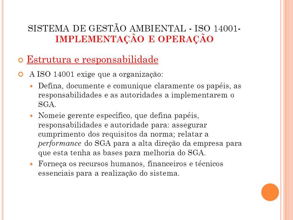 SISTEMA DE GESTÃO AMBIENTAL - ISO 14001- IMPLEMENTAÇÃO E OPERAÇÃO Estrutura e responsabilidade A ISO 14001 exige que a organização: Defina, documente