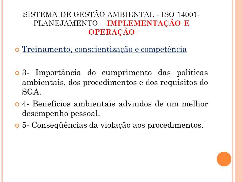 SISTEMA DE GESTÃO AMBIENTAL - ISO 14001- IMPLEMENTAÇÃO E OPERAÇÃO Comunicação Refere-se à necessidade de comunicações internas e externas sobre as questões ambientais.