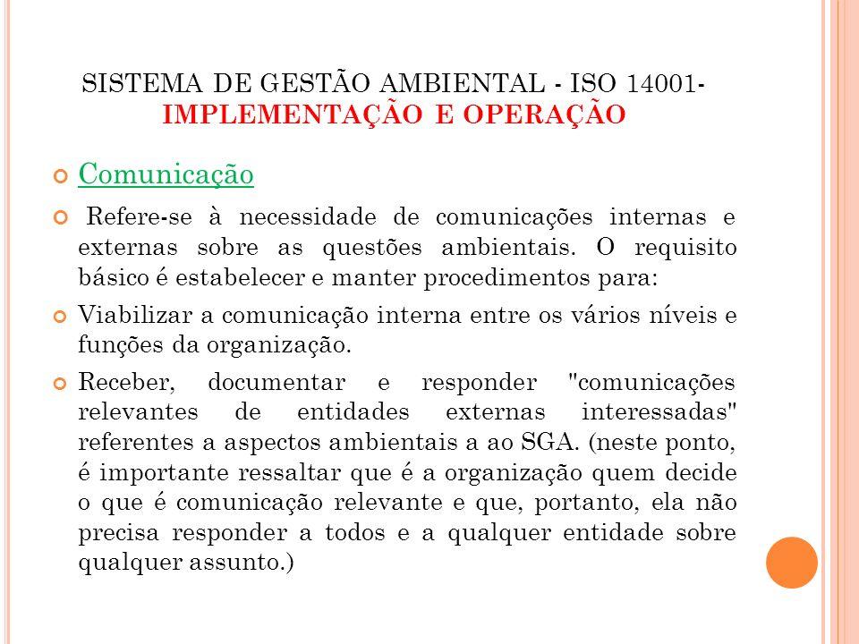 SISTEMA DE GESTÃO AMBIENTAL - ISO 14001- IMPLEMENTAÇÃO E OPERAÇÃO Comunicação Refere-se à necessidade de comunicações internas e externas sobre as que