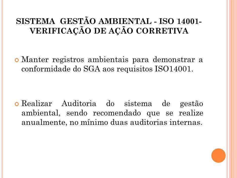 SISTEMA GESTÃO AMBIENTAL - ISO 14001- VERIFICAÇÃO DE AÇÃO CORRETIVA Manter registros ambientais para demonstrar a conformidade do SGA aos requisitos I