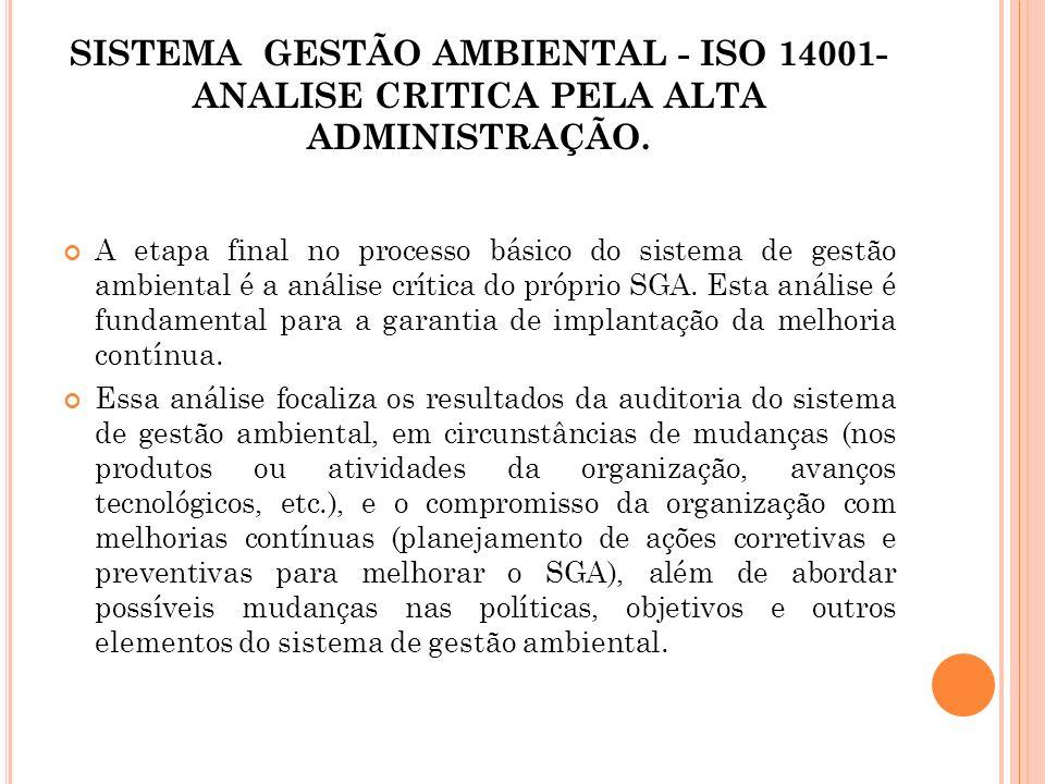 SISTEMA GESTÃO AMBIENTAL - ISO 14001- ANALISE CRITICA PELA ALTA ADMINISTRAÇÃO. A etapa final no processo básico do sistema de gestão ambiental é a aná