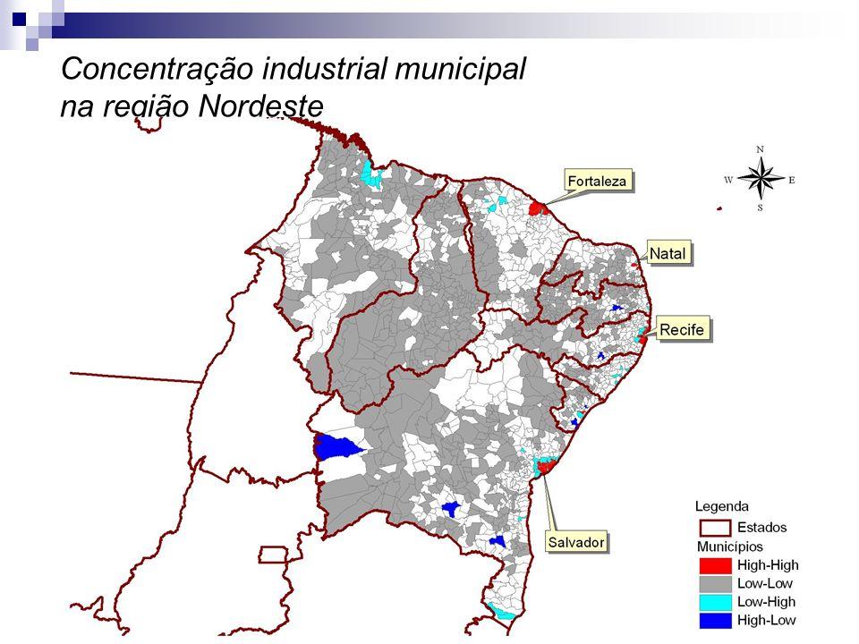 Concentração industrial municipal na região Nordeste