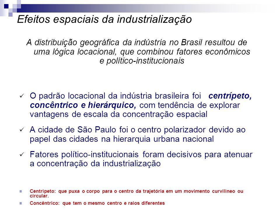 A distribuição geográfica da indústria no Brasil resultou de uma lógica locacional, que combinou fatores econômicos e político-institucionais O padrão