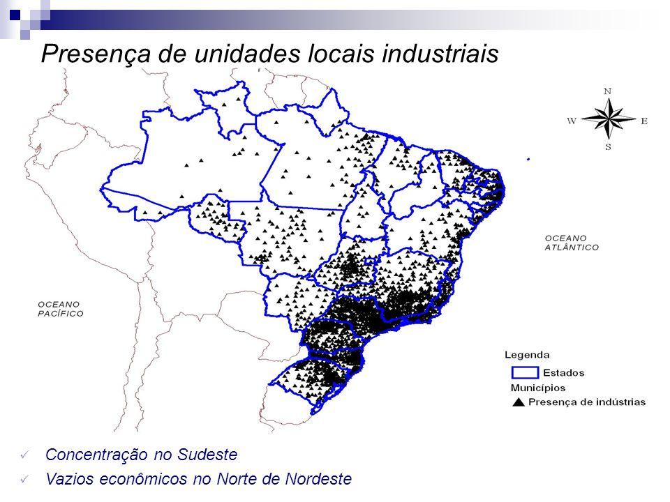 Presença de unidades locais industriais Concentração no Sudeste Vazios econômicos no Norte de Nordeste
