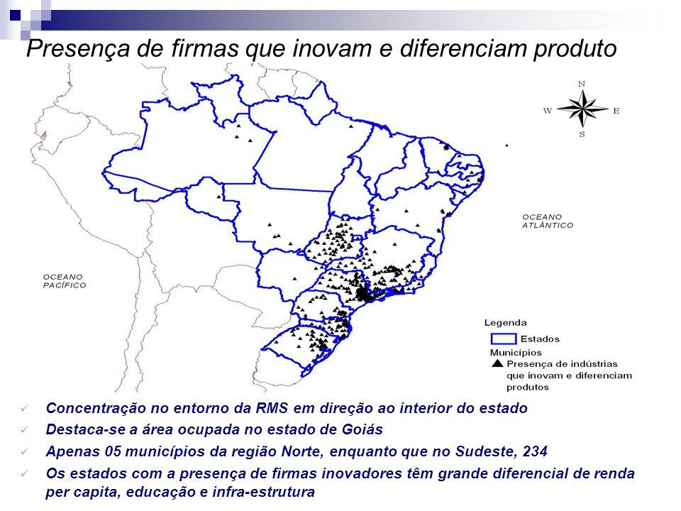 Presença de firmas que inovam e diferenciam produto Concentração no entorno da RMS em direção ao interior do estado Destaca-se a área ocupada no estad