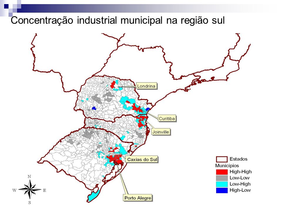 Concentração industrial municipal na região sul