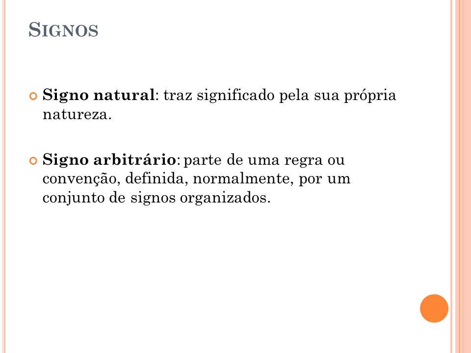 S IGNOS Signo natural : traz significado pela sua própria natureza. Signo arbitrário : parte de uma regra ou convenção, definida, normalmente, por um