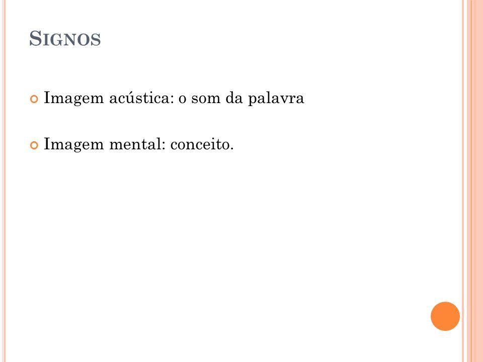 S IGNOS Imagem acústica: o som da palavra Imagem mental: conceito.