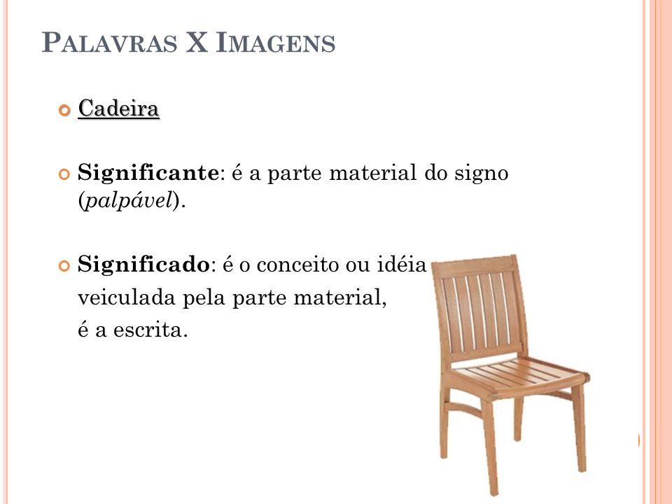 P ALAVRAS X I MAGENS Cadeira Cadeira Significante : é a parte material do signo ( palpável ). Significado : é o conceito ou idéia veiculada pela parte
