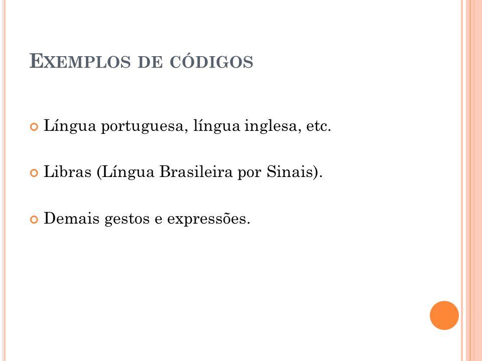 E XEMPLOS DE CÓDIGOS Língua portuguesa, língua inglesa, etc. Libras (Língua Brasileira por Sinais). Demais gestos e expressões.