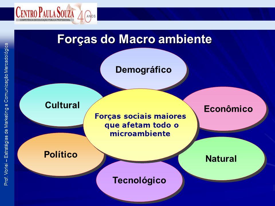 Prof. Vorlei – Estratégias de Marketing e Comunicação Mercadológica Forças do Macro ambiente Demográfico Tecnológico Cultural Econômico Político Natur