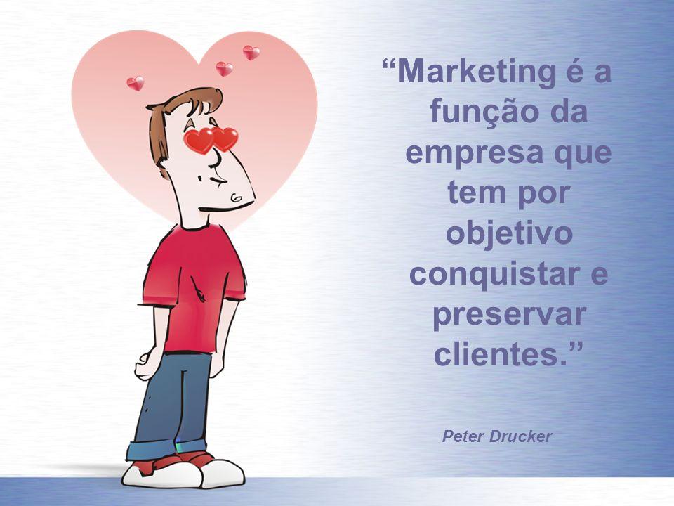 Marketing é a função da empresa que tem por objetivo conquistar e preservar clientes. Peter Drucker