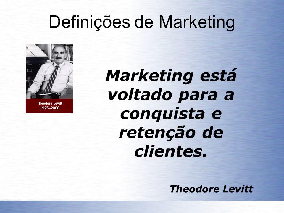 Definições de Marketing Marketing está voltado para a conquista e retenção de clientes. Theodore Levitt