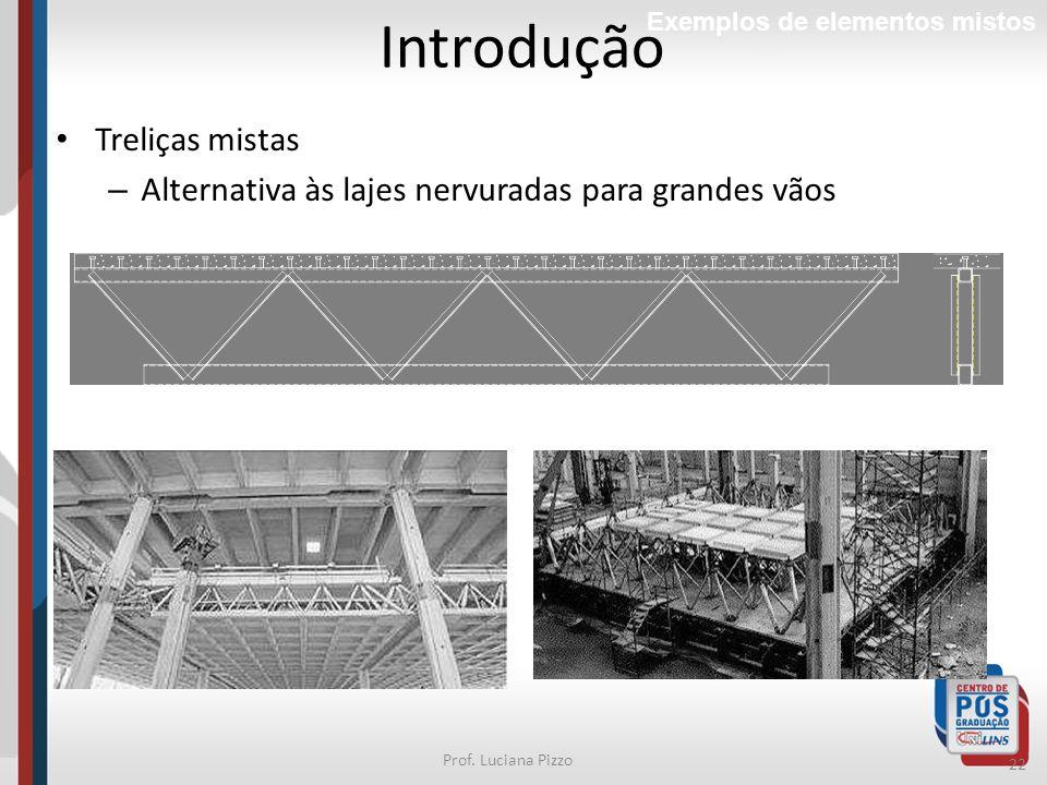 22 Prof. Luciana Pizzo Treliças mistas – Alternativa às lajes nervuradas para grandes vãos Introdução Exemplos de elementos mistos
