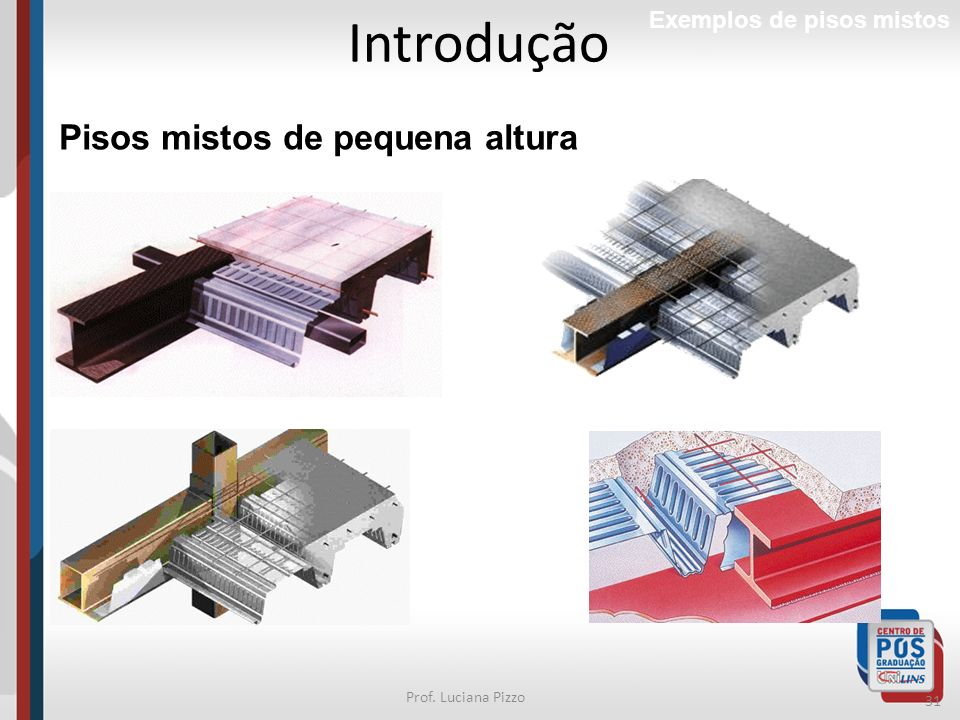 31 Prof. Luciana Pizzo Introdução Exemplos de pisos mistos Pisos mistos de pequena altura