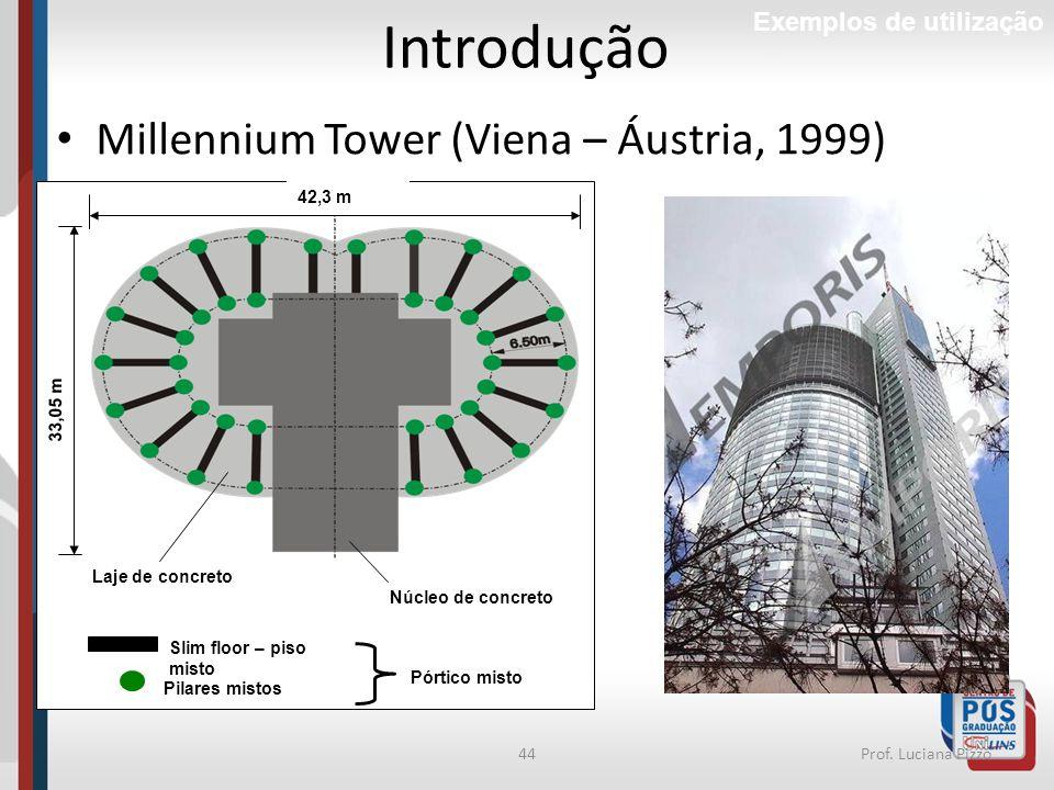 44Prof. Luciana Pizzo Pilares mistos Núcleo de concreto Slim floor – piso misto Laje de concreto 42,3 m Pórtico misto 42,3 m 33,05 m Introdução Exempl
