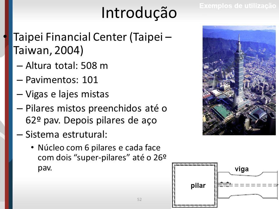 52Prof. Luciana Pizzo Introdução Exemplos de utilização Taipei Financial Center (Taipei – Taiwan, 2004) – Altura total: 508 m – Pavimentos: 101 – Viga