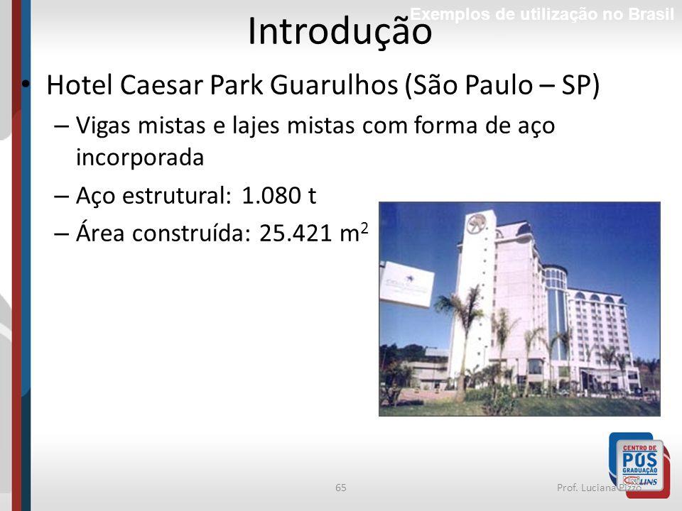 65Prof. Luciana Pizzo Introdução Exemplos de utilização no Brasil Hotel Caesar Park Guarulhos (São Paulo – SP) – Vigas mistas e lajes mistas com forma