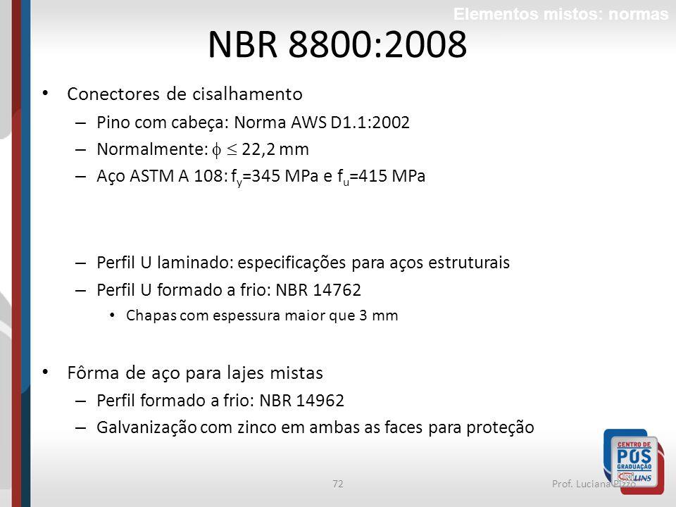 72Prof. Luciana Pizzo Conectores de cisalhamento – Pino com cabeça: Norma AWS D1.1:2002 – Normalmente: 22,2 mm – Aço ASTM A 108: f y =345 MPa e f u =4