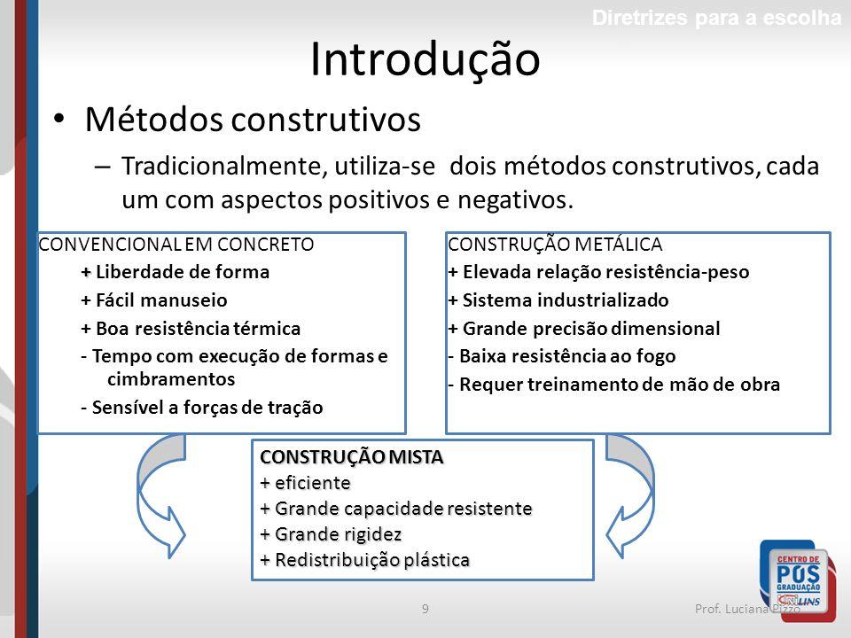 9Prof. Luciana Pizzo Introdução Métodos construtivos – Tradicionalmente, utiliza-se dois métodos construtivos, cada um com aspectos positivos e negati